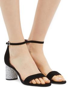 Pedder Red 'Alice' glass crystal heel ankle strap suede sandals