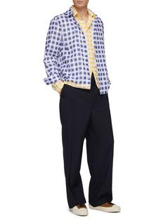 Marni Colourblock check plaid layered shirt jacket