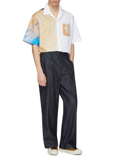 Marni Colourblock abstract graphic print oversized short sleeve shirt