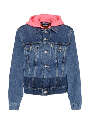 Main View - Click To Enlarge - VETEMENTS - x Levi Strauss & Co. detachable contrast hood patchwork denim jacket