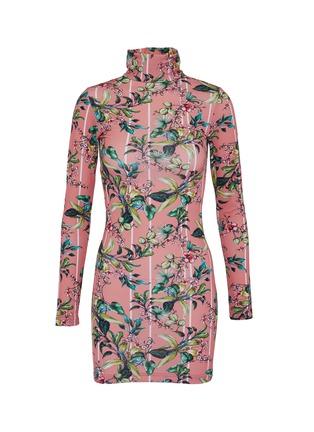 Main View - Click To Enlarge - Vetements - Floral stripe print turtleneck dress