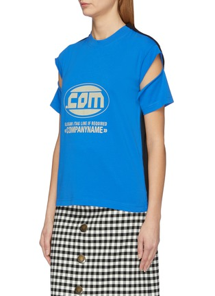 Front View - Click To Enlarge - VETEMENTS - 'Company' cutout sleeve slogan print patchwork T-shirt