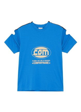 Main View - Click To Enlarge - VETEMENTS - 'Company' cutout sleeve slogan print patchwork T-shirt