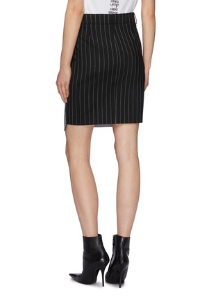 Back View - Click To Enlarge - Vetements - Staggered pinstripe panel houndstooth check plaid skirt