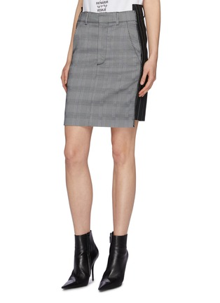 Front View - Click To Enlarge - Vetements - Staggered pinstripe panel houndstooth check plaid skirt