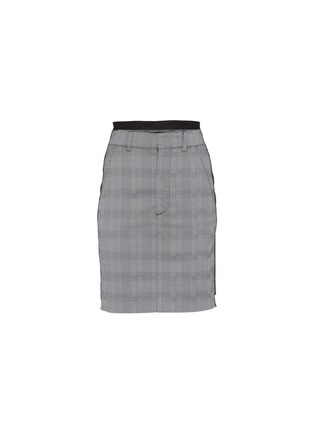 Main View - Click To Enlarge - VETEMENTS - Staggered pinstripe panel houndstooth check plaid skirt