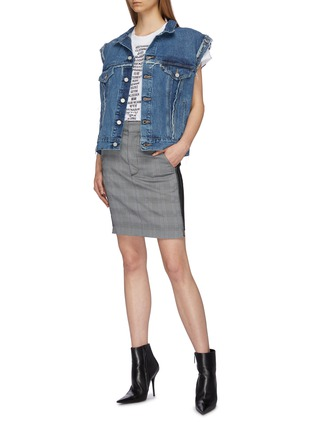 Figure View - Click To Enlarge - Vetements - Staggered pinstripe panel houndstooth check plaid skirt