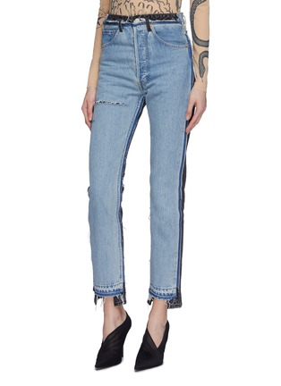 Front View - Click To Enlarge - Vetements - x Levi Strauss & Co. ripped colourblock patchwork jeans