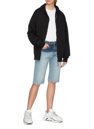 Detail View - Click To Enlarge - Vetements - Cutout sleeve unisex zip hoodie