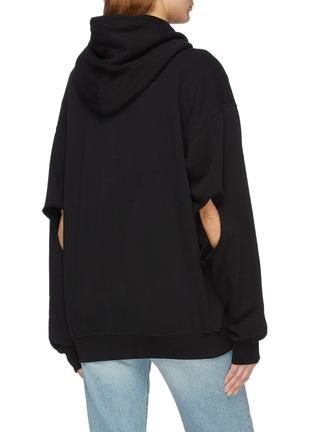 Back View - Click To Enlarge - Vetements - Cutout sleeve unisex zip hoodie