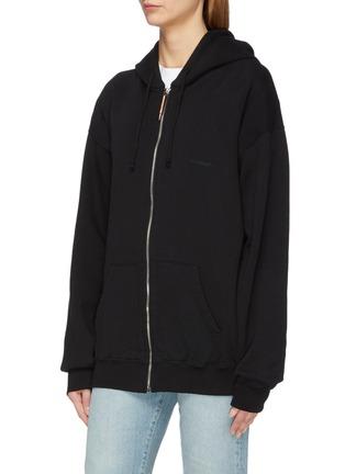 Front View - Click To Enlarge - Vetements - Cutout sleeve unisex zip hoodie