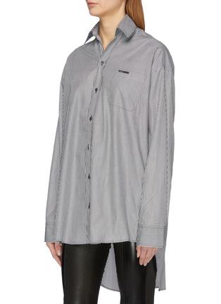 Front View - Click To Enlarge - VETEMENTS - Drape back stripe unisex shirt