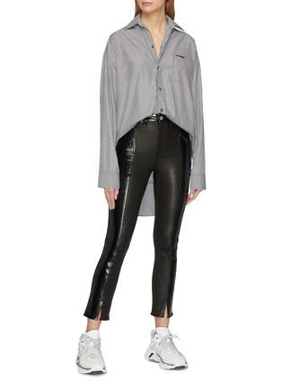 Figure View - Click To Enlarge - VETEMENTS - Drape back stripe unisex shirt