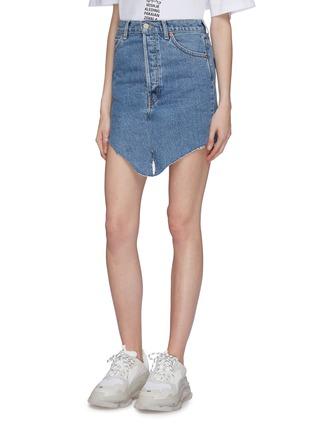 Front View - Click To Enlarge - VETEMENTS - x Levi Strauss & Co. patchwork angled split hem denim mini skirt