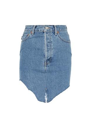 Main View - Click To Enlarge - VETEMENTS - x Levi Strauss & Co. patchwork angled split hem denim mini skirt
