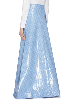 Back View - Click To Enlarge - VETEMENTS - Check plaid coated maxi skirt