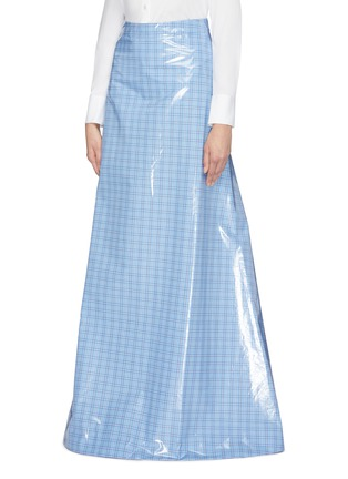 Front View - Click To Enlarge - VETEMENTS - Check plaid coated maxi skirt