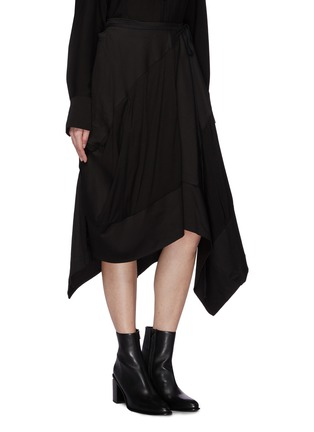 Front View - Click To Enlarge - Yohji Yamamoto - Patchwork drape wrap skirt