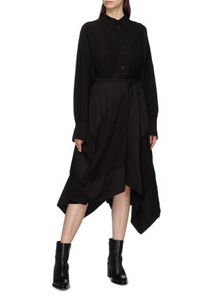 Figure View - Click To Enlarge - Yohji Yamamoto - Patchwork drape wrap skirt