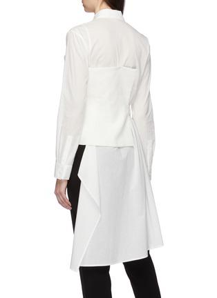 Back View - Click To Enlarge - YOHJI YAMAMOTO - Belted linen bustier panel asymmetric shirt