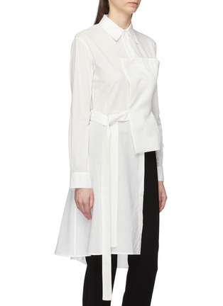 Front View - Click To Enlarge - Yohji Yamamoto - Belted linen bustier panel asymmetric shirt
