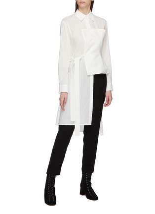 Figure View - Click To Enlarge - YOHJI YAMAMOTO - Belted linen bustier panel asymmetric shirt