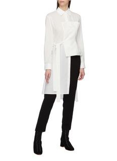 Yohji Yamamoto Belted linen bustier panel asymmetric shirt
