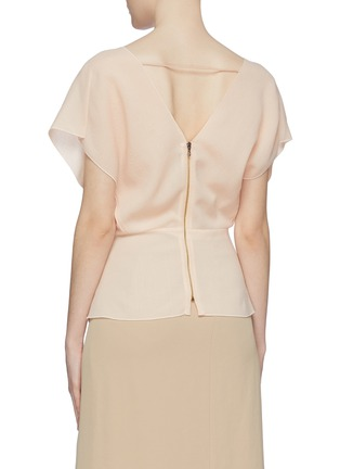Back View - Click To Enlarge - ROLAND MOURET - 'Tayrona' contrast lace-up front drape wool peplum top