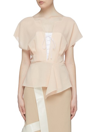 Main View - Click To Enlarge - ROLAND MOURET - 'Tayrona' contrast lace-up front drape wool peplum top