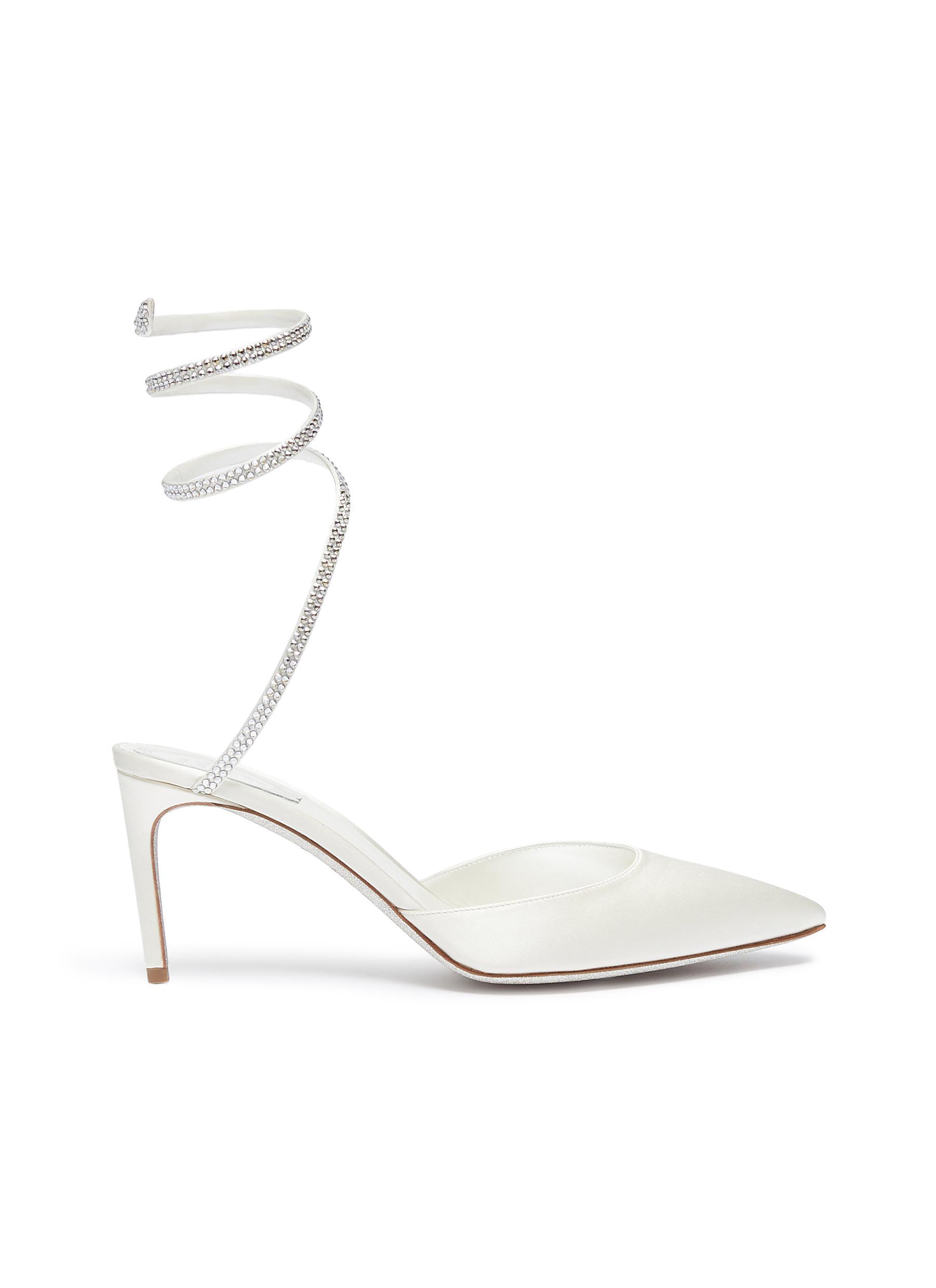 Snake strass coil anklet satin pumps by René Caovilla