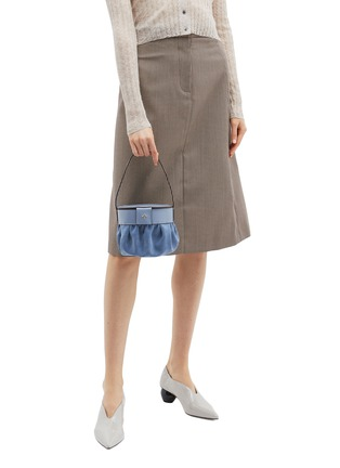 Figure View - Click To Enlarge - MANU ATELIER - Ruched suede panel leather top handle bag