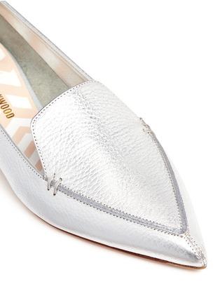 Detail View - Click To Enlarge - Nicholas Kirkwood - 'Beya' metal heel metallic leather skimmer loafers