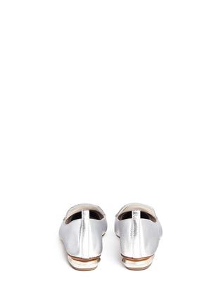 Back View - Click To Enlarge - Nicholas Kirkwood - 'Beya' metal heel metallic leather skimmer loafers