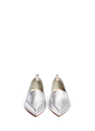 Front View - Click To Enlarge - Nicholas Kirkwood - 'Beya' metal heel metallic leather skimmer loafers