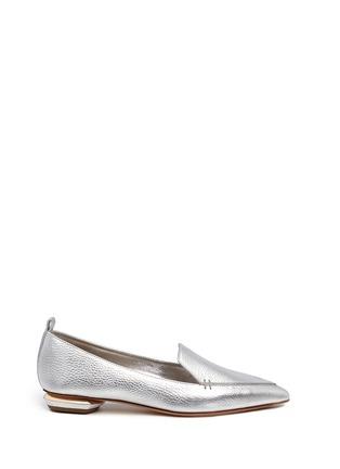 Main View - Click To Enlarge - Nicholas Kirkwood - 'Beya' metal heel metallic leather skimmer loafers