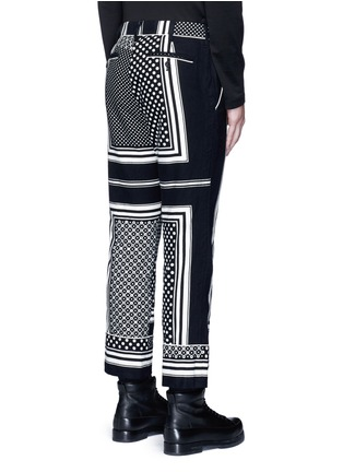 Back View - Click To Enlarge - Sacai - Dot scarf print cropped flannel pyjama pants