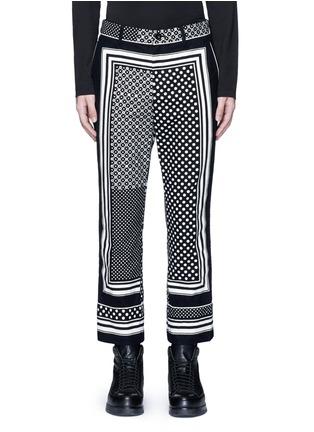 Main View - Click To Enlarge - Sacai - Dot scarf print cropped flannel pyjama pants