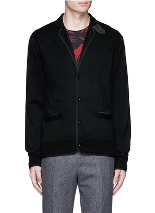 Main View - Click To Enlarge - Sacai - Notched lapel wool knit jacket