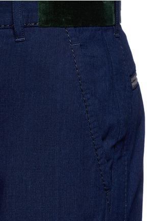Detail View - Click To Enlarge - Sacai - Velvet trim cotton pants