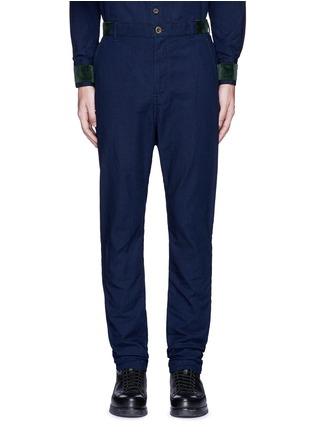 Main View - Click To Enlarge - Sacai - Velvet trim cotton pants