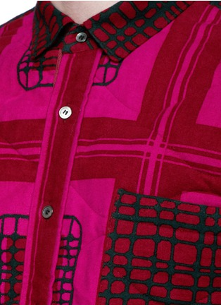 Detail View - Click To Enlarge - Sacai - Grid check quilted flannel shirt jacket