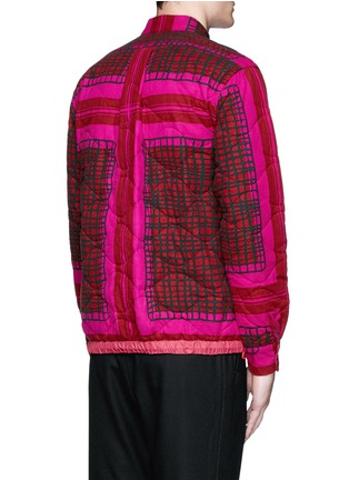 Back View - Click To Enlarge - Sacai - Grid check quilted flannel shirt jacket