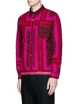 Front View - Click To Enlarge - Sacai - Grid check quilted flannel shirt jacket