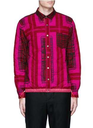 Main View - Click To Enlarge - Sacai - Grid check quilted flannel shirt jacket