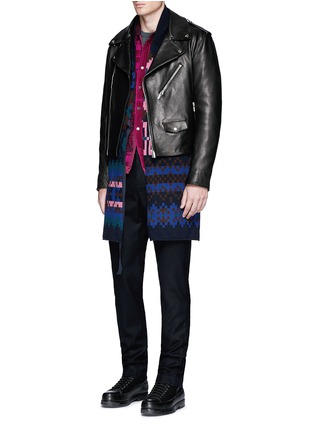 Figure View - Click To Enlarge - SACAI - Grid check quilted flannel shirt jacket