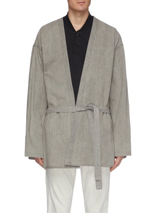 Main View - Click To Enlarge - FEAR OF GOD - Belted denim kimono jacket