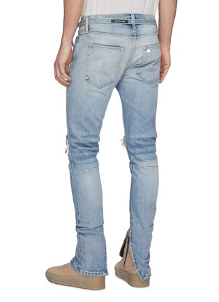 Back View - Click To Enlarge - FEAR OF GOD - Belted zip cuff ripped skinny jeans