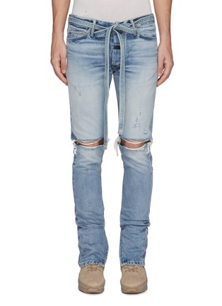 Main View - Click To Enlarge - FEAR OF GOD - Belted zip cuff ripped skinny jeans