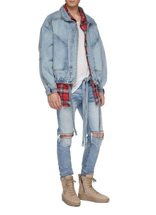 Figure View - Click To Enlarge - FEAR OF GOD - Belted zip cuff ripped skinny jeans