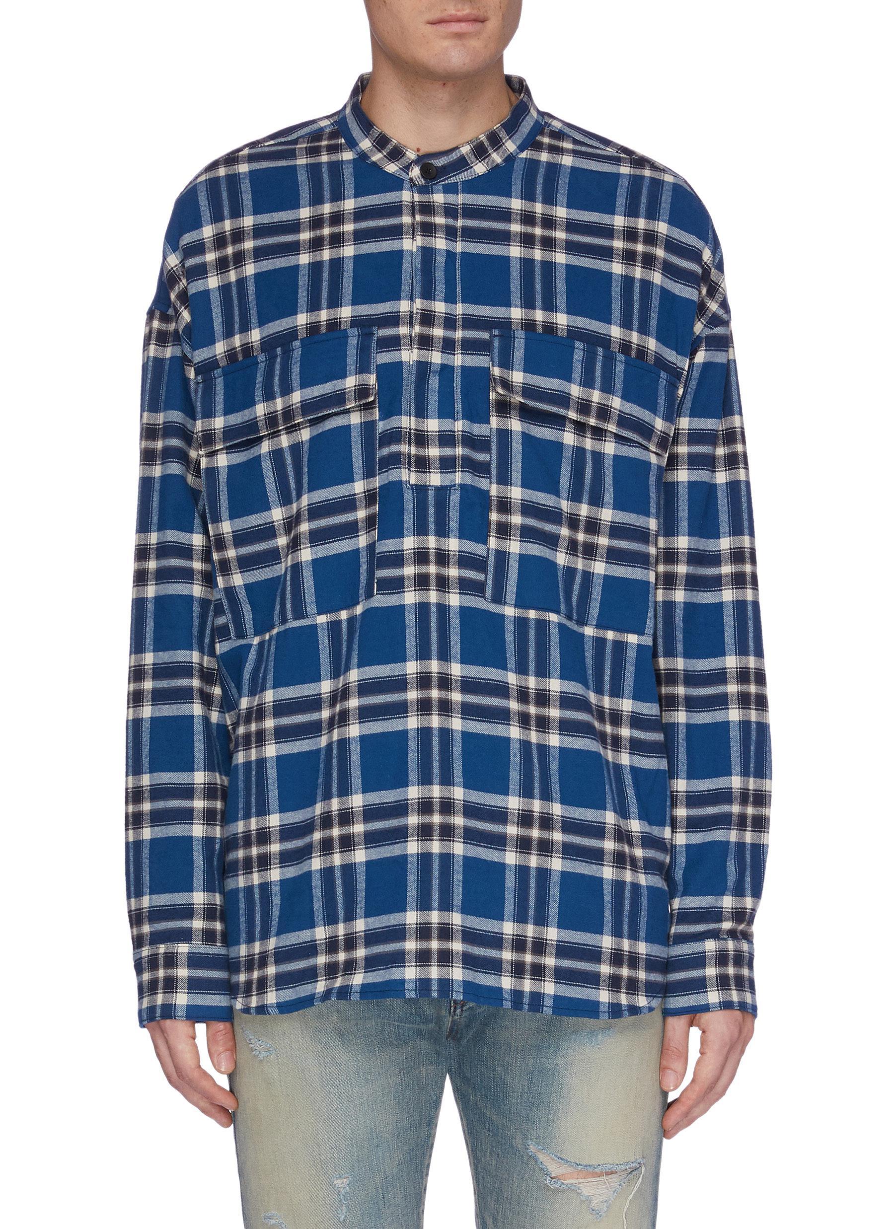 5219f84aabc FEAR OF GOD | Chest pocket tartan plaid flannel Henley shirt | Men ...